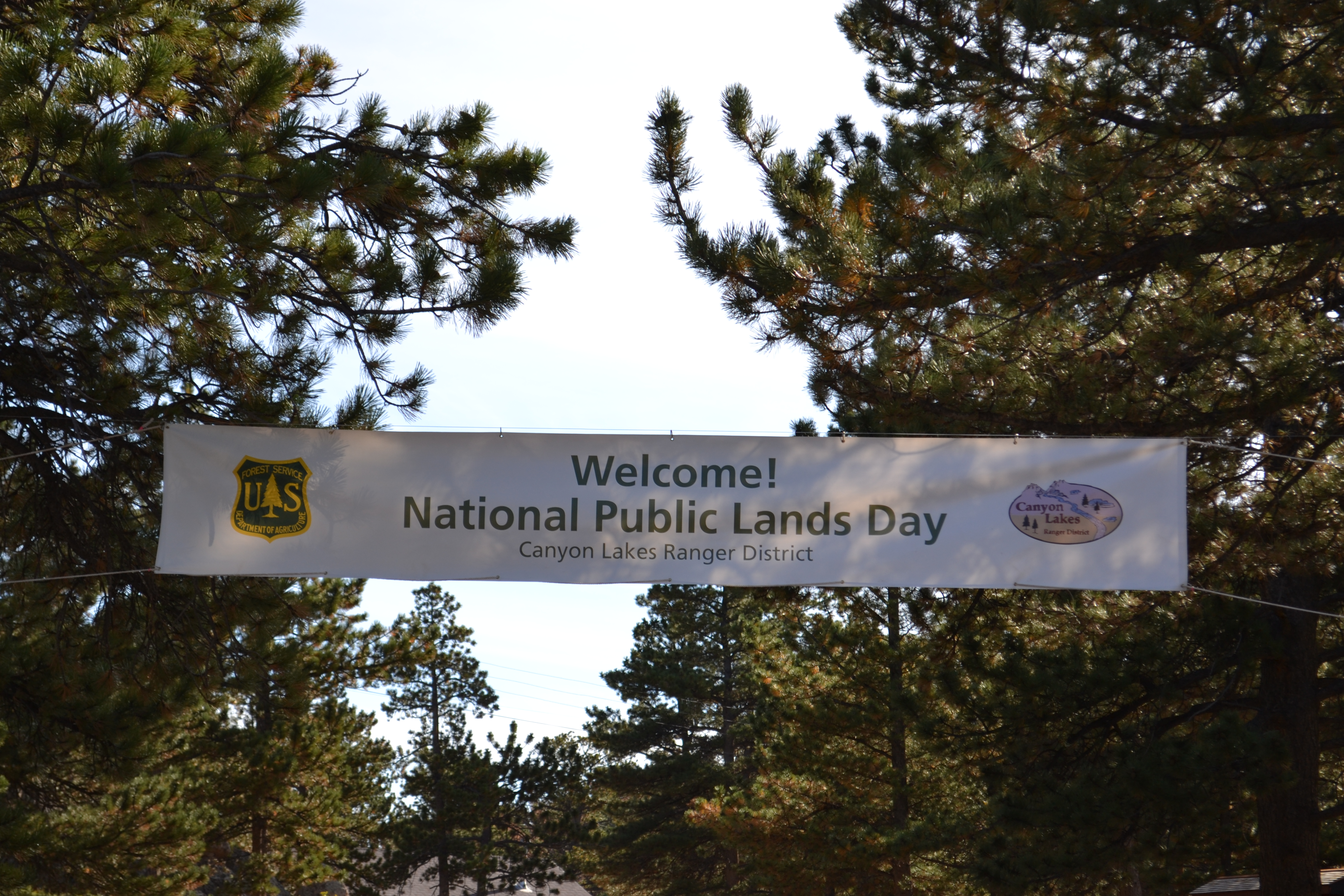 Large white banner hung between two trees with district name, two logos, and NPLD on it