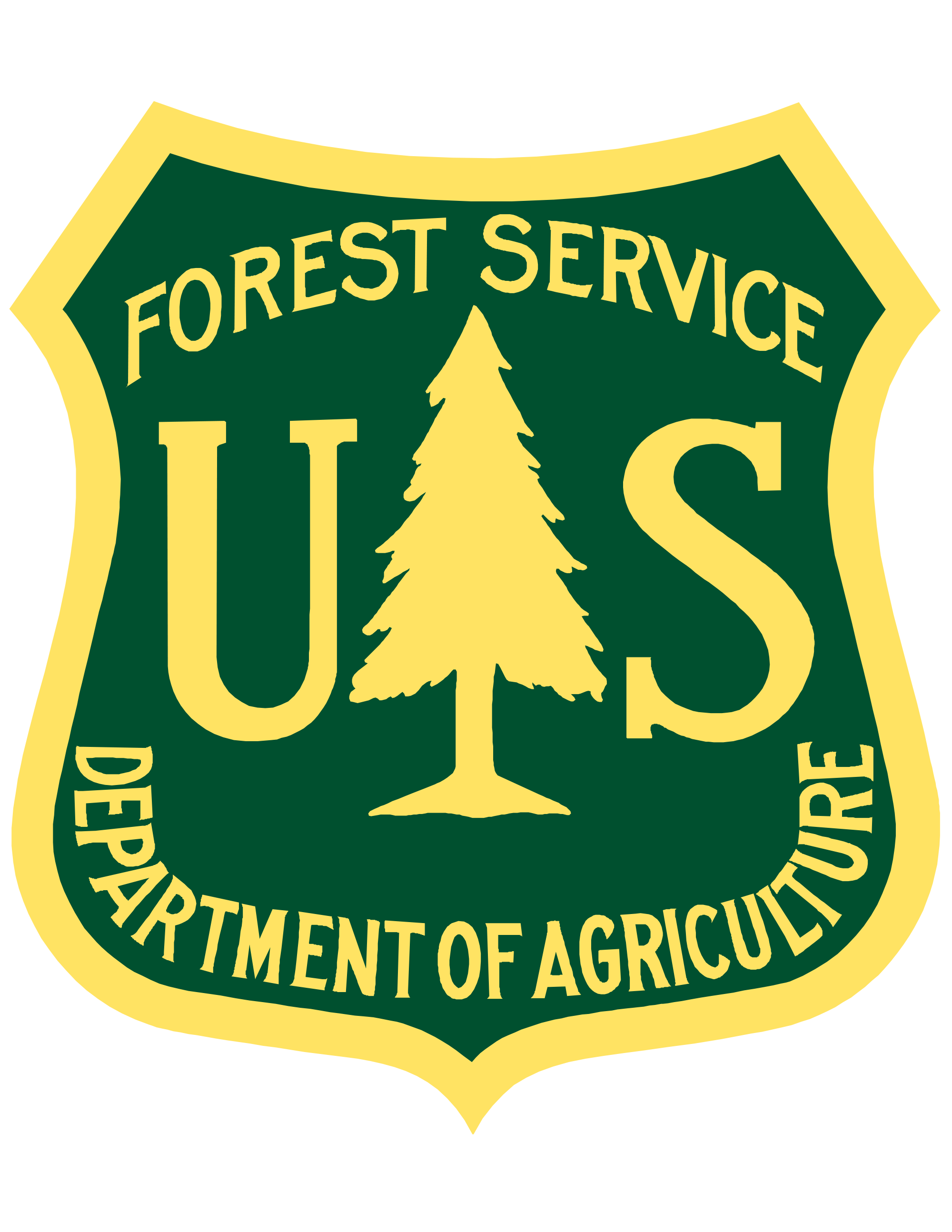 Green and yellow Forest Service shield.