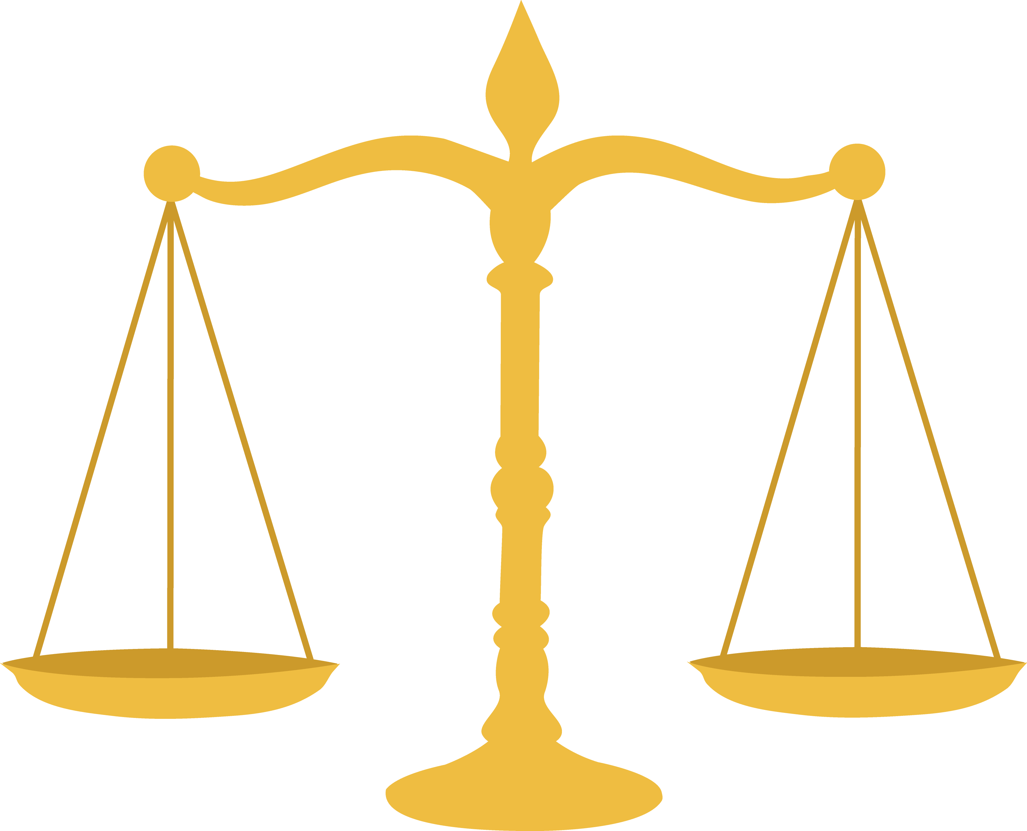 A drawing of a gold legal scale.