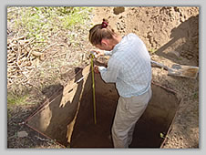 Photo of archaeological testing on Selway River, Nez Perce NF.