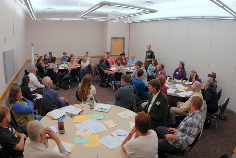 Participants of the Americas Great Outdoors listening session offer ideas about action items