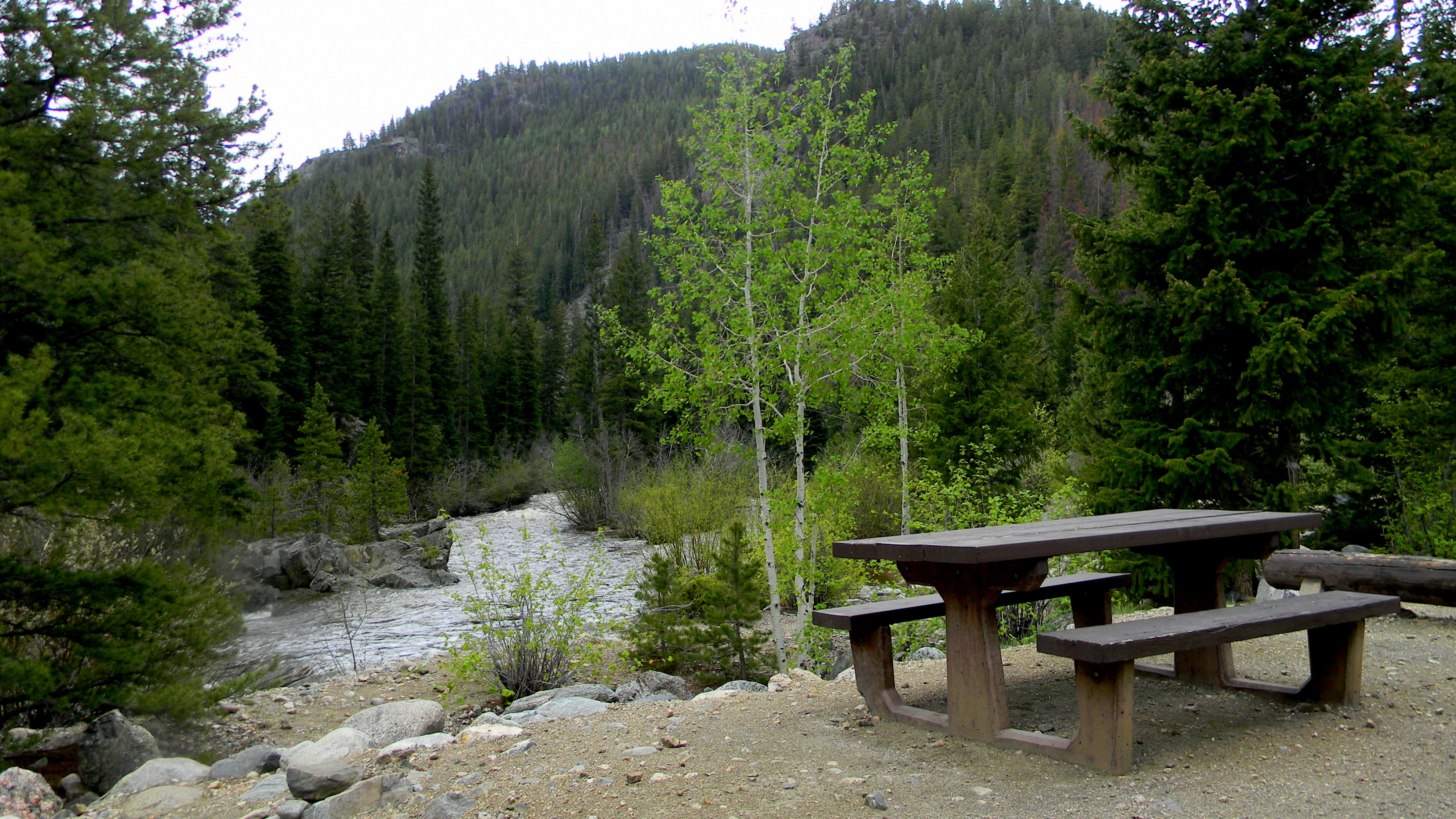 A picnic table at one of the campsites with a view of the Cache La Poudre River on the background.