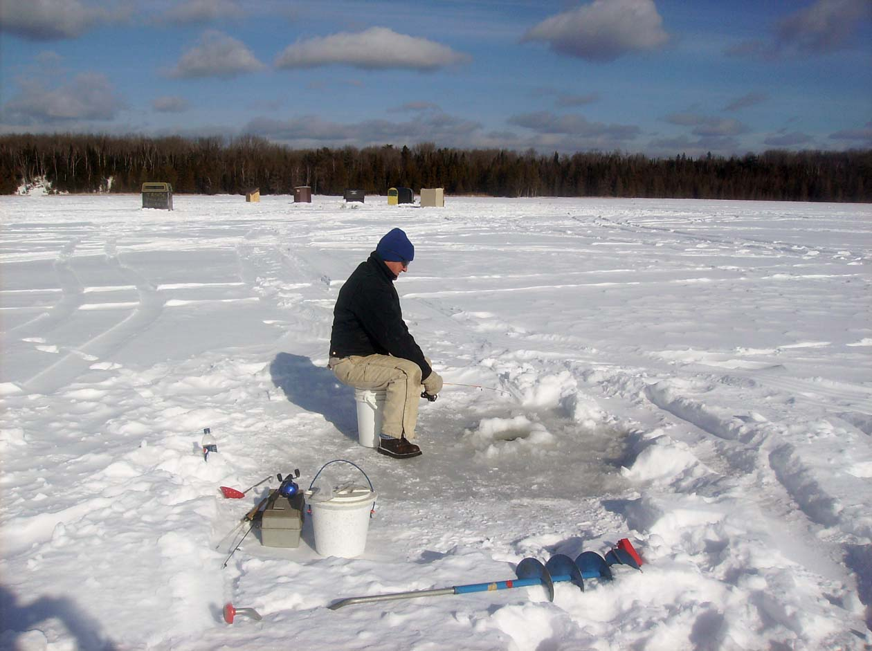 Ice Fishing on an impoundment on the Au Sable River.