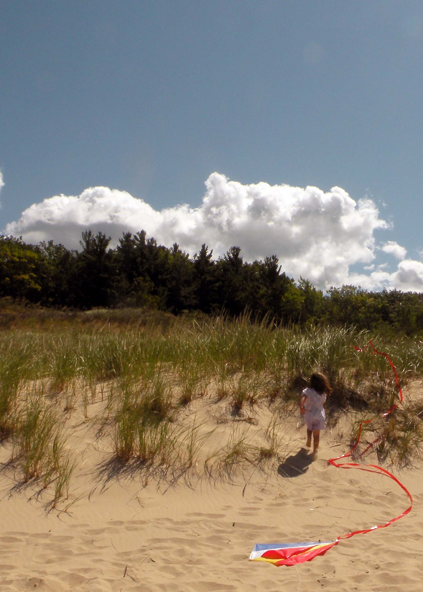 Lake Michigan Recreation Area - flying a kite on the beach