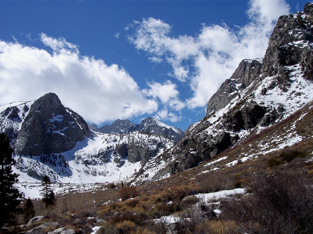 Snow along the peaks surrounding the South Fork of Big Pine Creek.