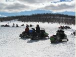 Snowmobilers Eating Lunch at Ant Park