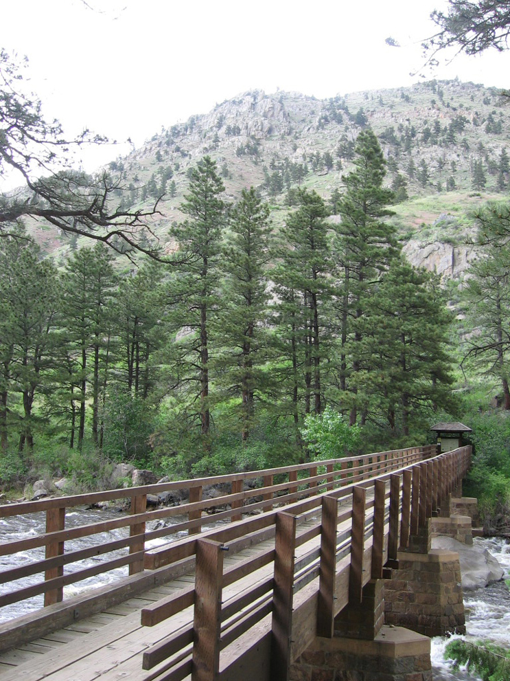A bridge located on the Greyrock Meadows Trail.  Cache La Poudre River flows below.