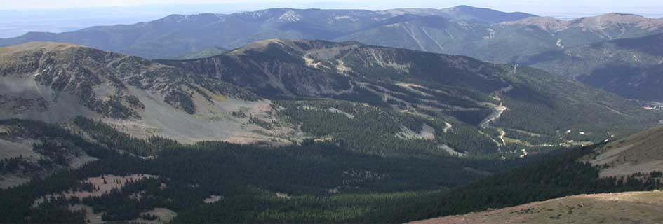View from Wheeler Peak looking down to Taos Ski Valley.