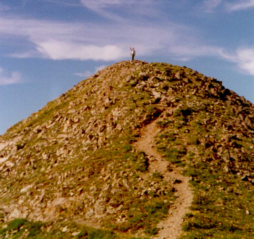 Hiker reaching the Peak - Wheeler Peak