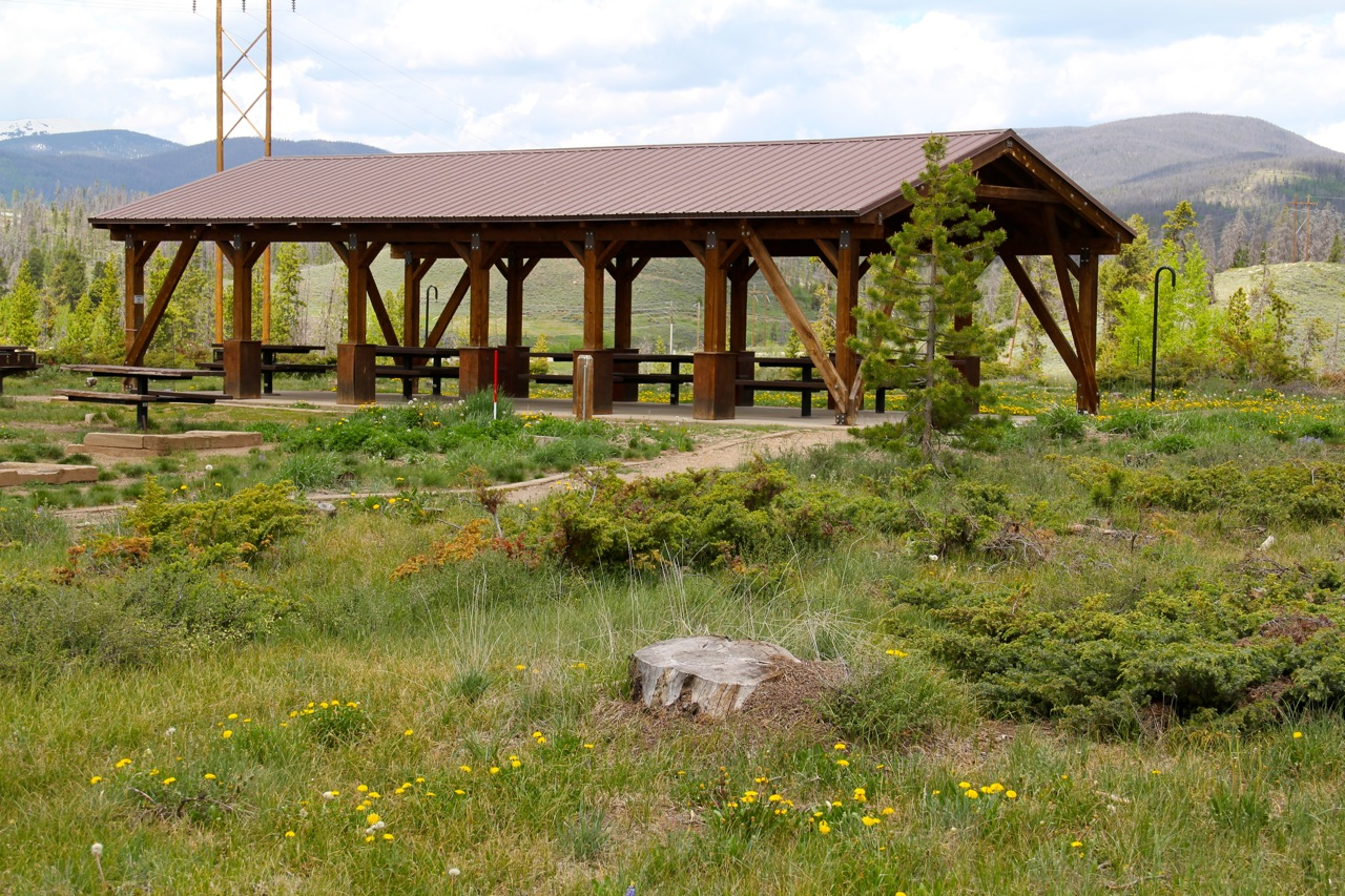 A pavilion at Cutthroat Bay Campground