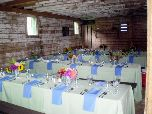 Tables beautifully set for a summer wedding in the mountains.
