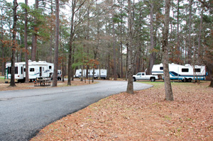 RV camping on the Sam Houston National Forest