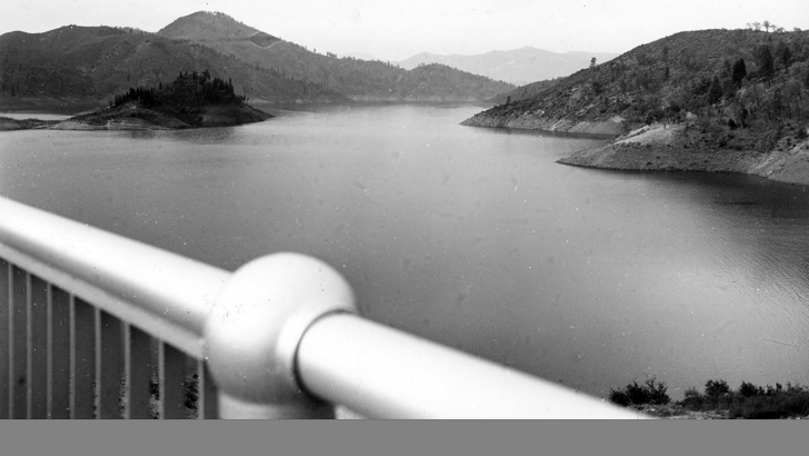 A view of Shasta Lake taken from the old Pit River Bridge in 1948
