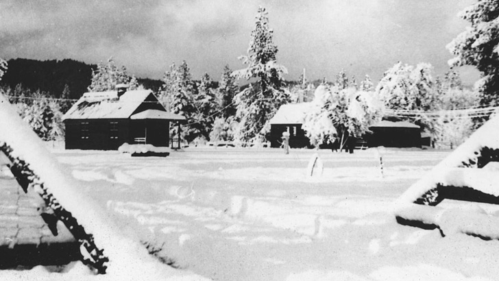 1930s. The Hayfork Ranger Station area during a snow storm