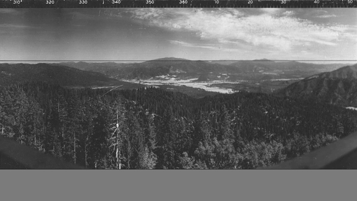 1936. Wide angle view of the Hayfork Valley from Plummer Peak