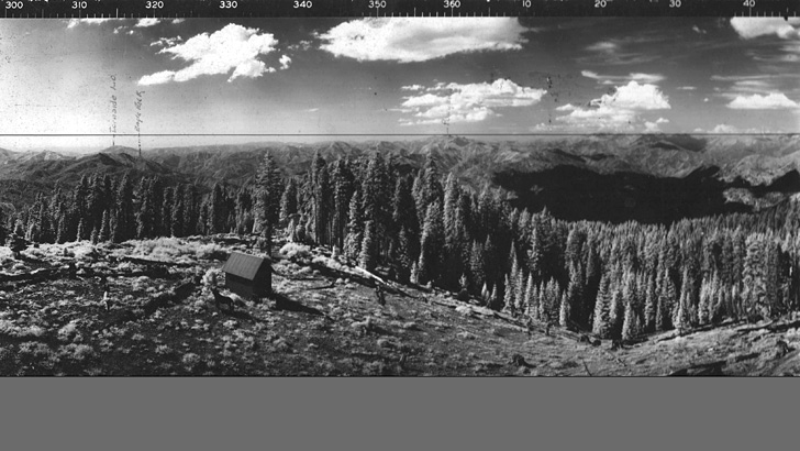 1937. Looking north from Hayfork Bally to Trinity Alps