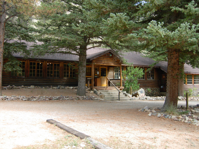 Front view of the Arrowhead Lodge, used as the visitor center in the Cache la Poudre River corridor.