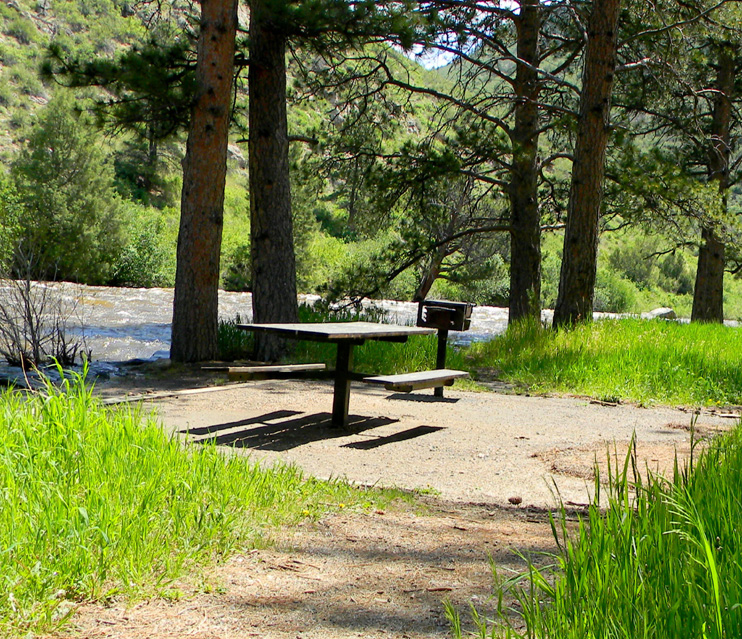 One of the picnic site at Diamond Rock. Cache La Poudre River is in the background.