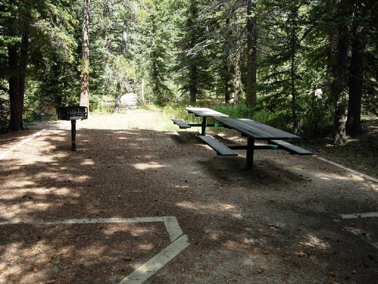 One of the picnic sites at Fish Creek. Site has two picnic tables and a fire grate.