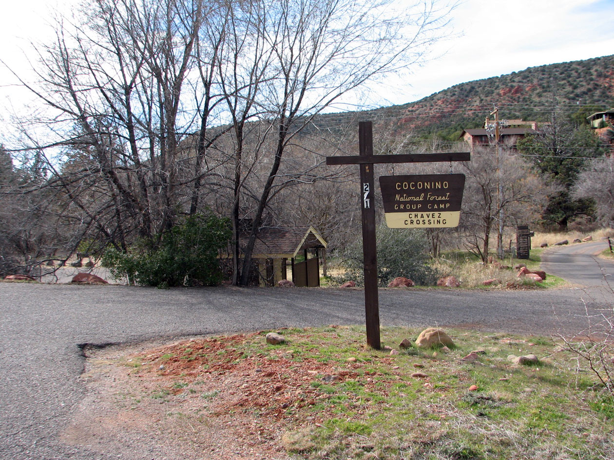 Sign at the entrance of Chavez Crossing Group C&ground & Coconino National Forest - Chavez Crossing Group Campground