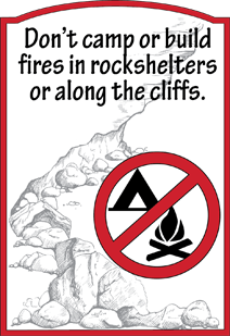 Camping and Firebuilding prohibited within 100 feet of Rock Shelter