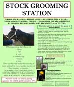 Sign with photos and text providing information on grooming animals to prevent noxious weed spread.