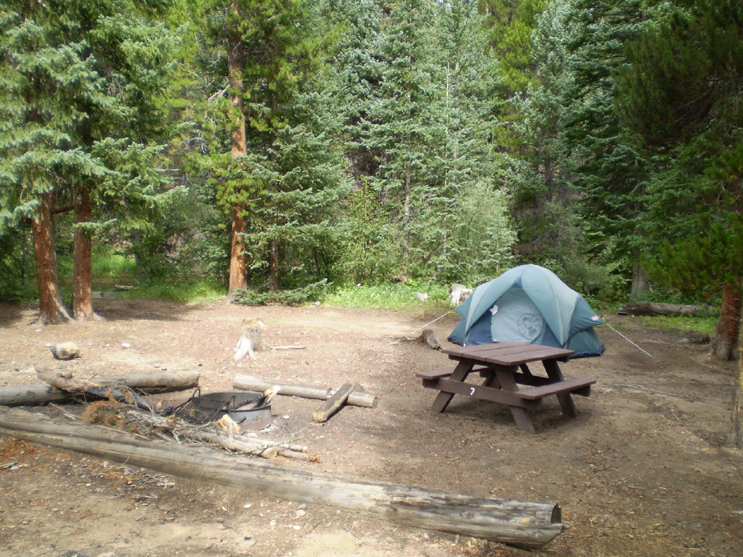 An occupied campsite. Site include a tent, picnic table and fire grate at Tom Bennett Campground.