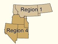 Graphic of the states in Region 1 and 4