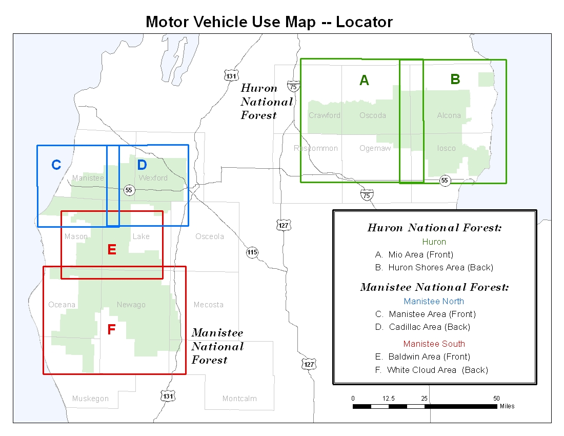 A map showing which Motor Vehicle Use maps cover which areas on the Forests.