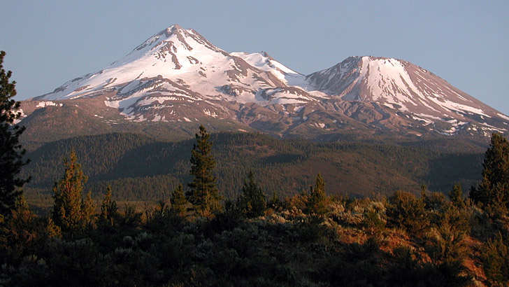 View of north side of Mt. Shasta showing glaciers