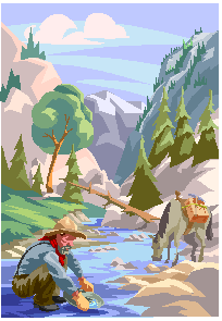 Animated scene of man panning for gold in the mountains