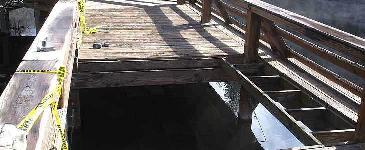 Lake Fulmor Accessible fishing pier beginning reconstruction