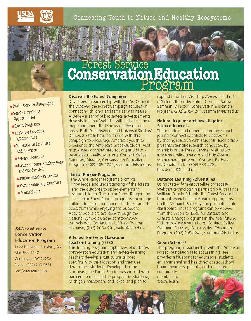 Conservation Education programs flyer