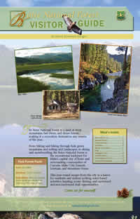 Image of the cover page for the Boise National Forest Visitor Guide.