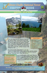 Image of the cover page for the Salmon-Challis National Forest Visitor Guide.