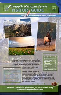 Image of the cover page for the Sawtooth National Forest Visitor Guide.