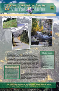 Image of the cover page for the Uinta-Wasatch-Cache National Forest Visitor Guide.