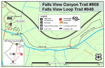 Falls View Canyon and Loop Trails #868 and #848 Map