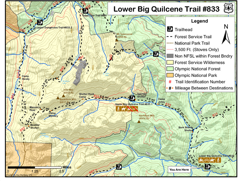 Lower Big Quilcene Trail #833 Area Map