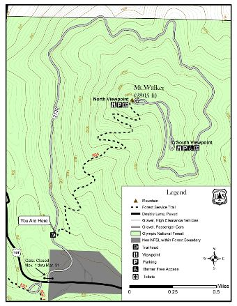 Mt. Walker Trail Map.