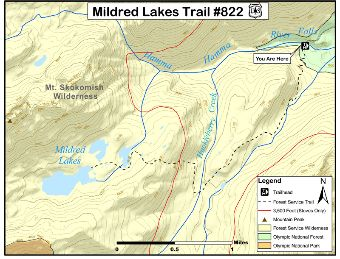 Mildred Lakes Trail #822 Map.