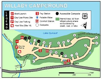 Willaby Campground and Day Use Area Map.