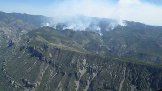 Whitewater Baldy Complex Wildfire Burning in Steep and Remote Terrain