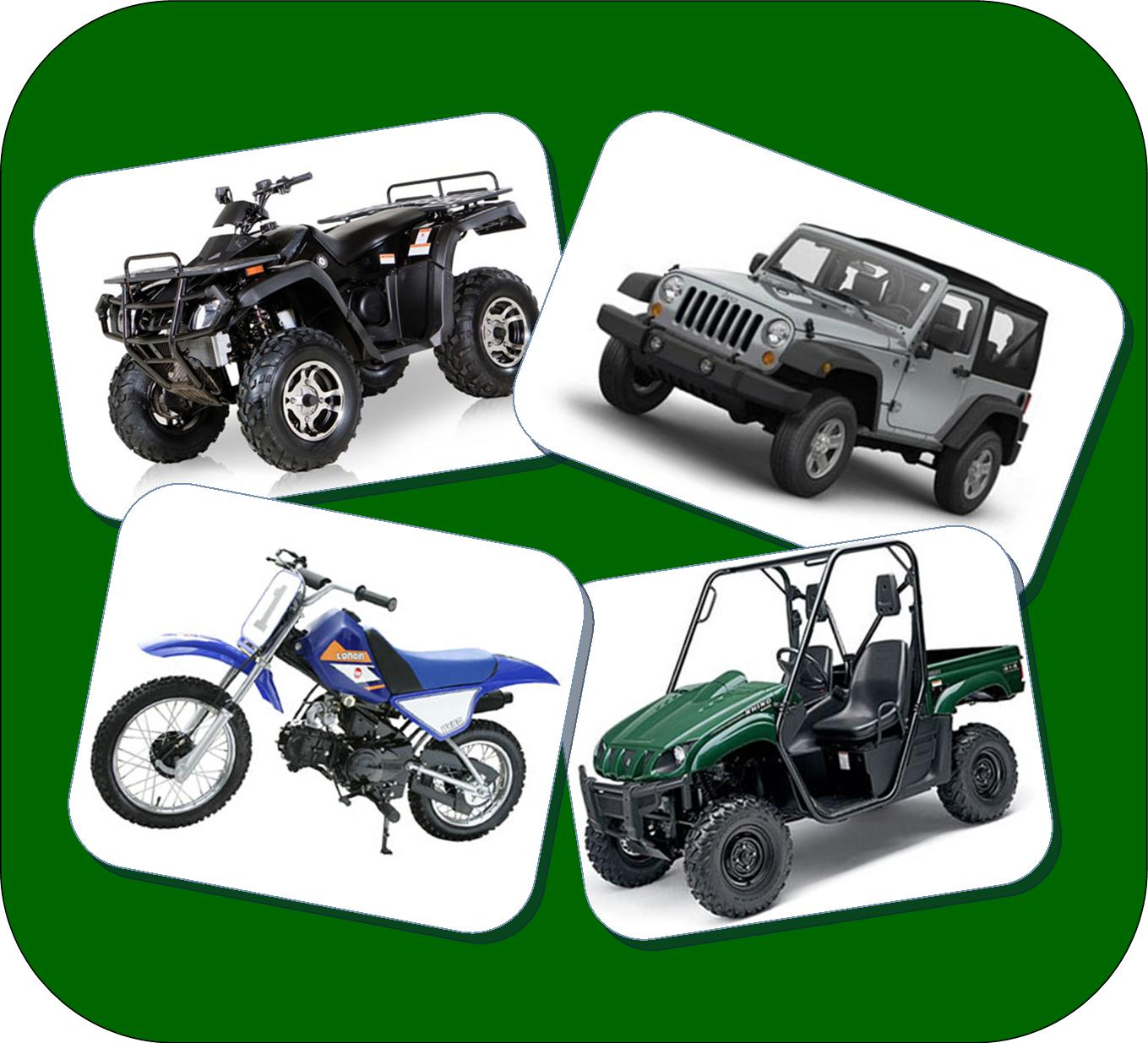 Several types of Off Highway Vehicles