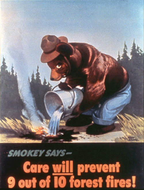 Image of smokey bear pouring water over a campfire.