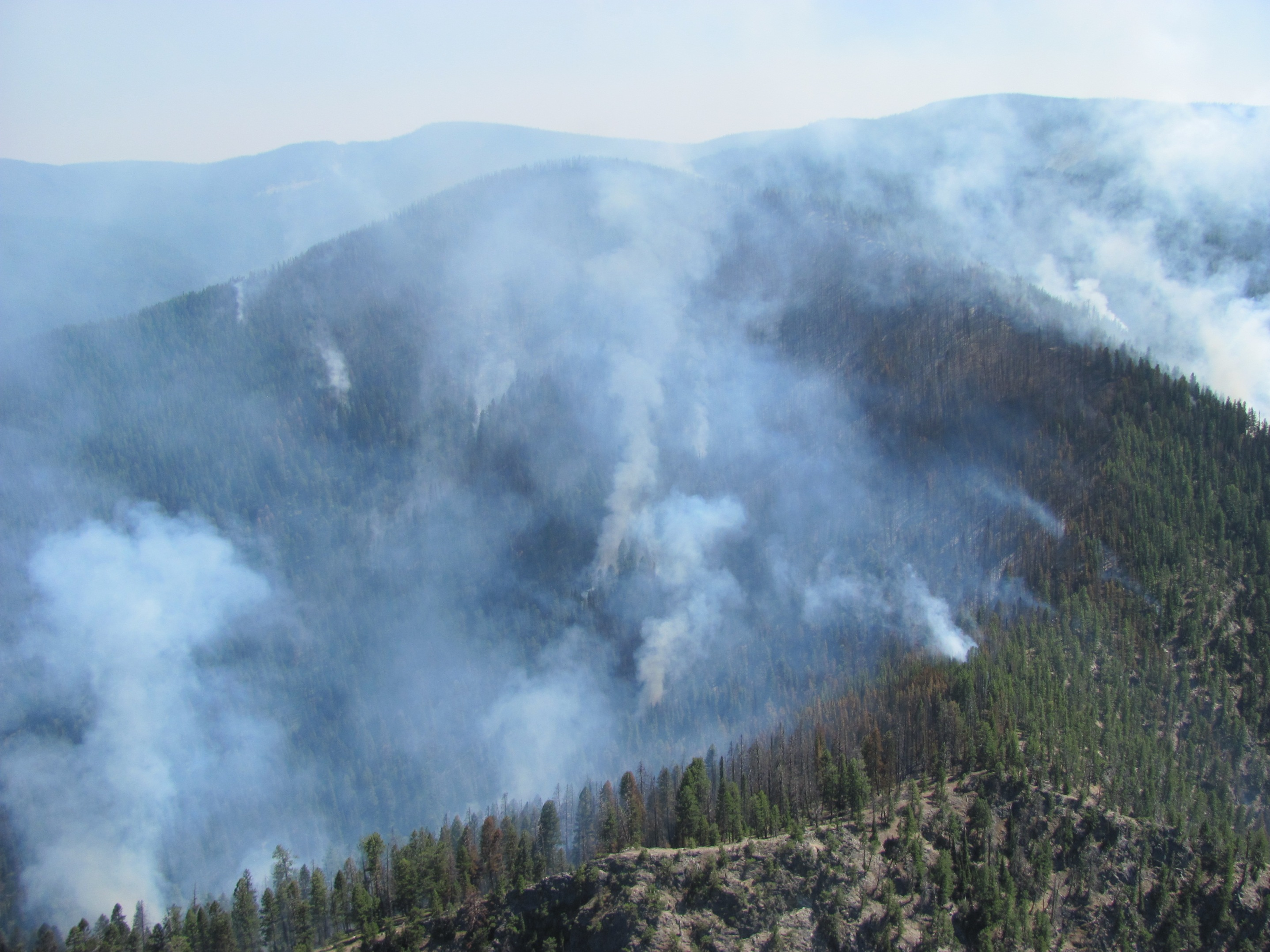 Aerial photo of the Mustang Fire showing the large area it encompasses taken on August 4, 2012.