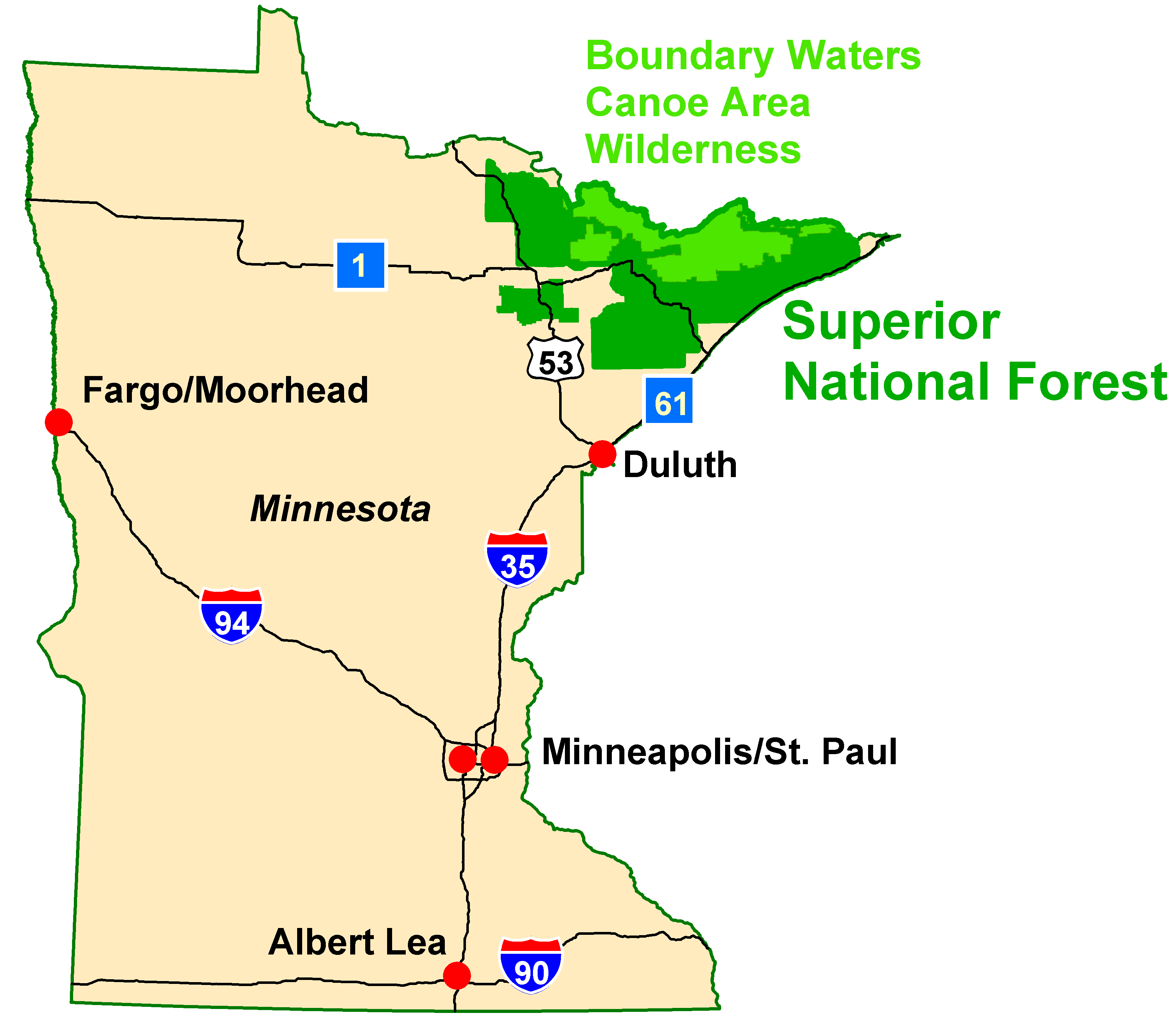 The Superior National Forest is located in northeastern Minnesota