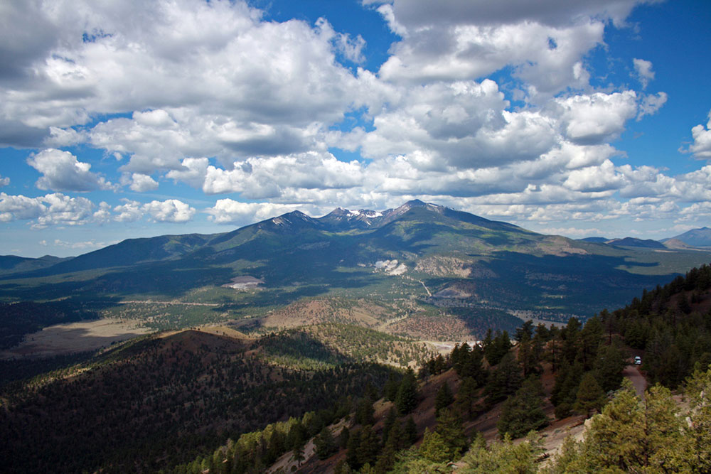 View of the San Francisco Peaks from O'Leary lookout tower.