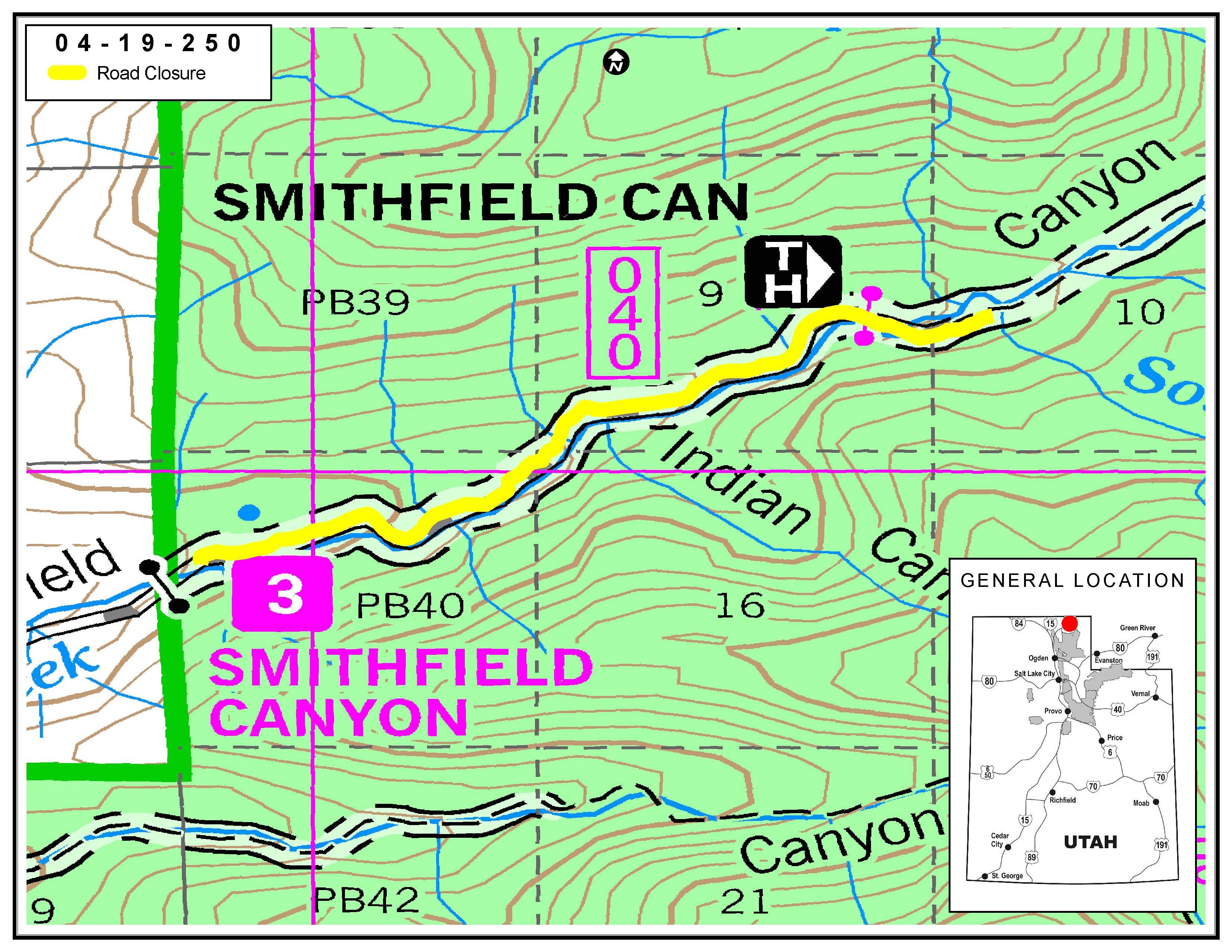 Map showing the Smithfield Canyon Road Closure