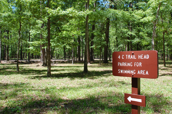 Four C Hiking Trail trailhead sign on the Davy Crockett National Forest.
